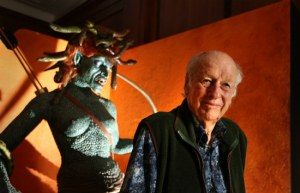 Ray Harryhausen (right) next to Medusa
