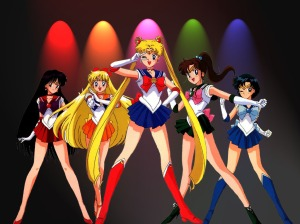 Sailor Moon (center) and Sailor Scouts