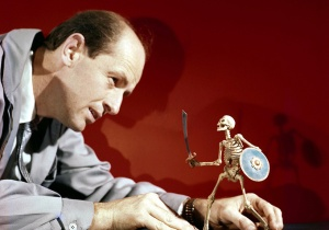Ray Harryhausen with model skeleton