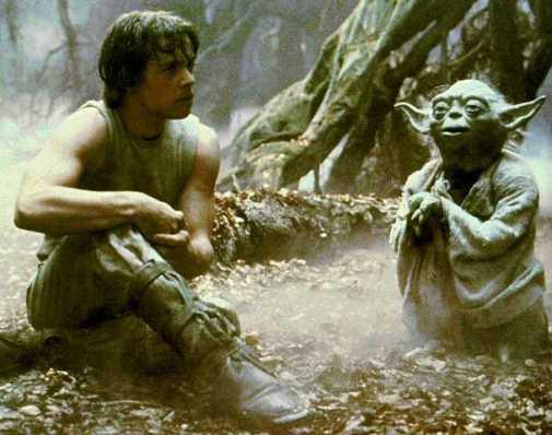 Luke confers with Yoda