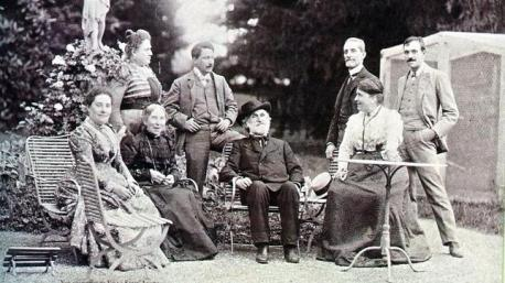 Verdi (center) at his villa in Sant'Agata
