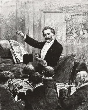 Verdi leading the orchestra at the premiere of his Requiem