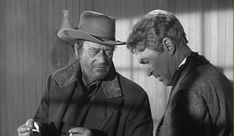 John Wayne & James Stewart in The Man Who Shot Liberty Valance