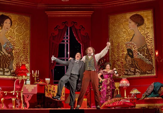 Patrick Carfizzi, Michael Fabiano & Susanna Phillips in Act I of Die Fledermaus