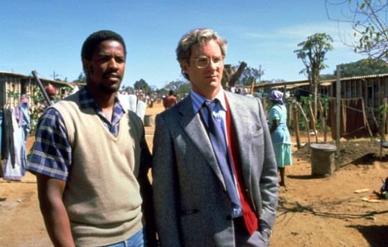 Denzel Washington (Biko) & Kevin Kline (Woods) in Cry Freedom (skymovies.com)