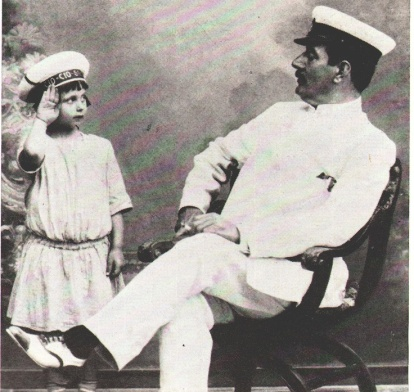 Puccini as Pinkerton with Bibi, his step-granddaughter (pinterest.com)