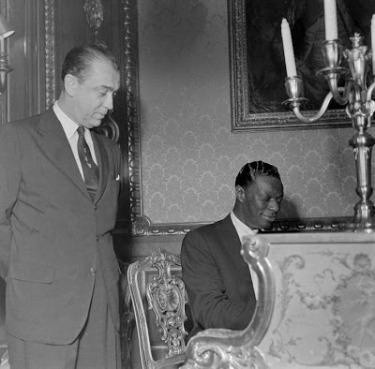 "Brazilian President Juscelino Kubitschek greets the ""King"""