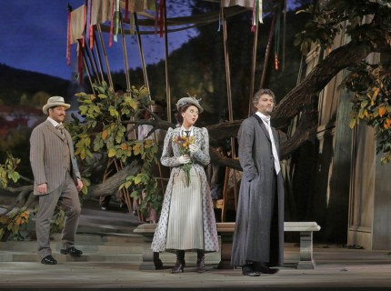 Left to right: David Bizic, Lisette Oropesa & Jonas Kaufmann (Ken Howard)