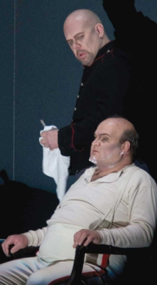 Wozzeck (Alan Held) shaves the Captain (Gerhard Siegel)