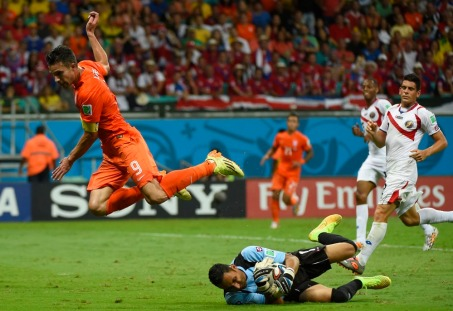 Costa Rican goalie Keylor Navas on the ground
