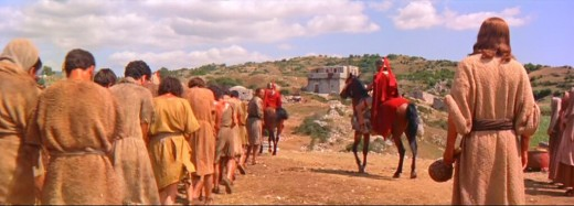 Christ (right) looks on as Judah (left) is led away with the other prisoners