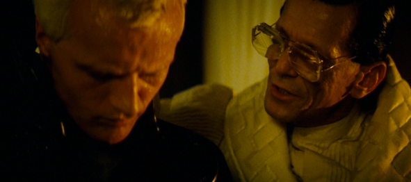 Roy Batty (Rutger Hauer) meets his Maker (Joe Turkel)
