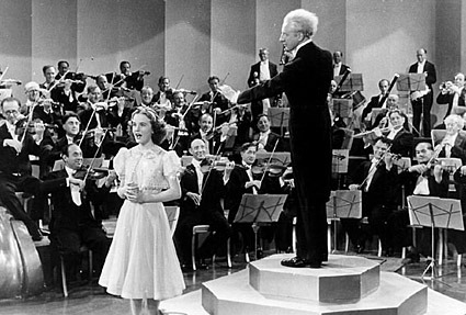 Durbin with Leopold Stokowski in One Hundred Men and a Girl