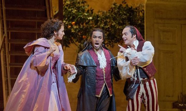 Isabel Leonard, Lawrence Brownlee & Christopher Maltman in The Barber of Seville