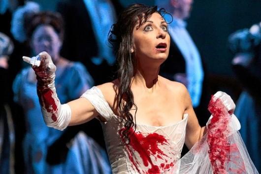 "Natalie Dessay in the ""Made Scene"" from Lucia (Ken Howard / Met Opera)"