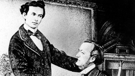 Drawing of King Ludwig II (left) and Wagner (SZ Foto)