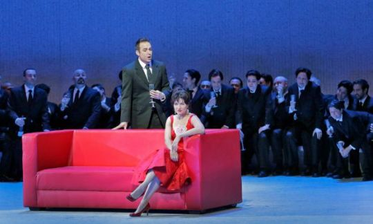"Alfredo (Stephen Costello) singing the ""Brindisi"" to Violetta (Marina Rebeka) in La Traviata"