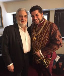 Placido Domingo with Luca Salsi before airtime