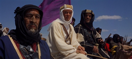 Auda Abu-Tayi (Anthony Quinn), Lawrence (Peter O'Toole) & Ali (Omar Sharif) in Lawrence of Arabia