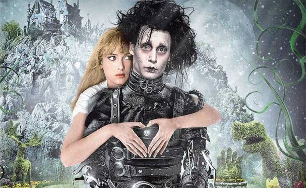 Wynona Ryder embracing Johnny Depp as Edward Scissorhands