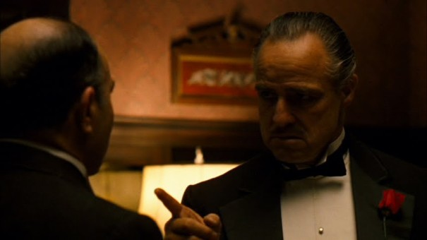 Don Corleone (Marlon Brando) speaks to Bonasera (Salvatore Corsitto)