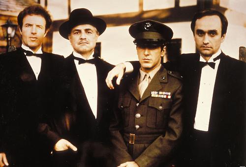 Sonny (James Caan), Don Corleone (Brando), Michael (Al Pacino) & Fredo (John Cazale)