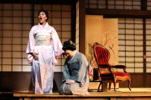 Cio-Cio-San (Talise Trevigne) & Suzuki (Lindsey Ammann) in Act II of Madama Butterfly (Photo: Curtis Brown)