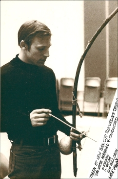 Buddy Deppenschmidt with berimbau (ca. 1960s)