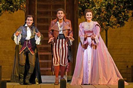 Almaviva (David Portillo), Figaro (Elliot Madore) & Isabel Leonard (Rosina) in The Barber of Seville (Photo: Karen Almond)