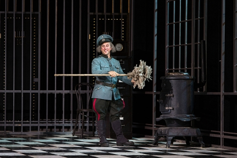 Christopher Fitzgerald as rowdy jailor Frosch
