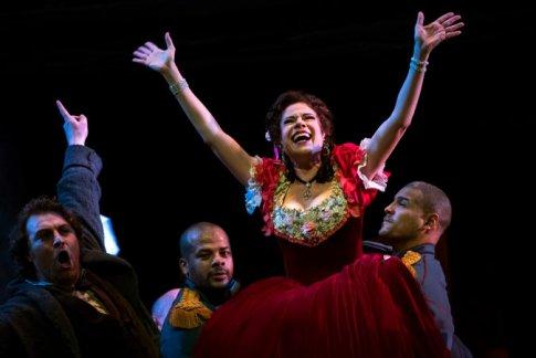 """Marcello (Levente Molnar) & Musetta (Ana Maria Martinez) in Act II of """"La Boheme"""""""
