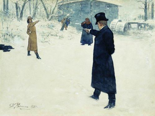 Lensky & Onegin duel (Painting by Ilya Repin)