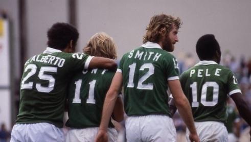 1977 Cosmos: Carlos Alberto, Steve Hunt, Bobby Smith & Pele