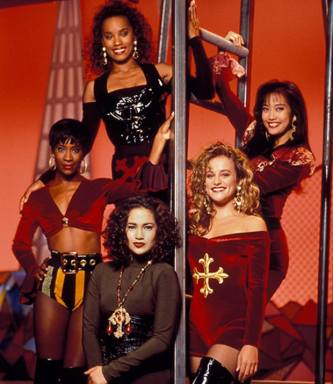 The Fly Girls from In Living Color: JLo (lower center) & Carrie Ann Inaba (far right)