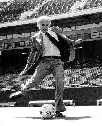 "Steve Ross getting his ""kicks"" at Giants Stadium, the Meadowlands"