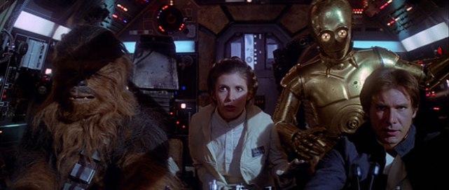 Chewie, Leia, C-3PO & Han Solo onboard the Millennium Falcon