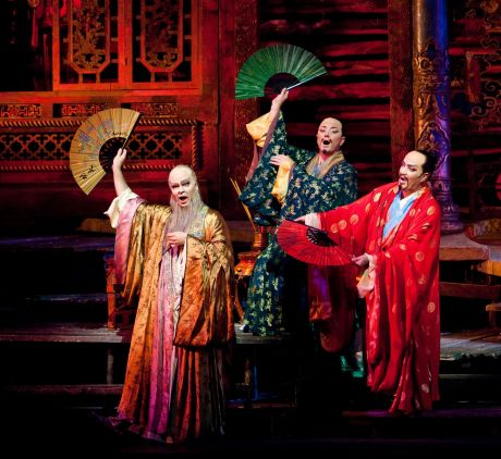 Joshua Hopkins as Ping, Tony Stevenson as Pang, Eduardo Valdes as Pong in Puccini's Turandot (Photo: Marty Sohl/Met