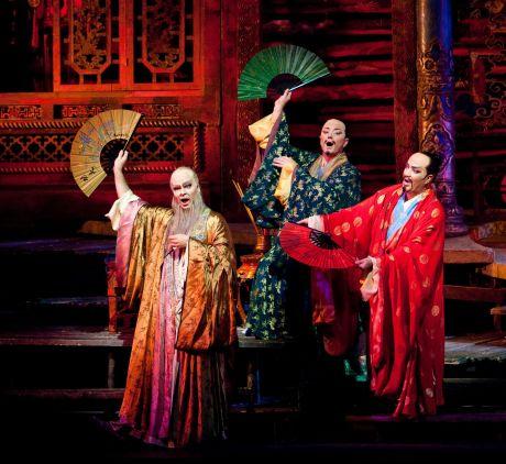 Joshua Hopkins as Ping, Tony Stevenson as Pang, Eduardo Valdes as Pong in Puccini's Turandot (Photo: Marty Sohl/Met