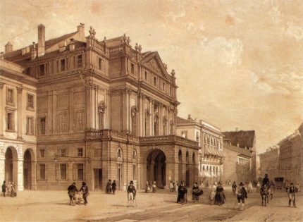 19th Century print of the plaza and La Scala Opera House, Milan