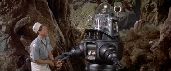 Cookie (Earl Holliman) making friends with Robby the Robot