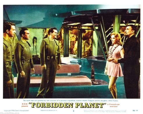 Lobby Card for Forbidden Planet: Adams, Ostrow (Warren Stevens), Farman, Alta & Morbius (Walter Pidgeon)