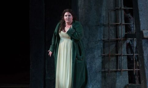 Angela Meade as Leonora, on the Saturday broadcast of Trovatore