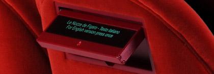 Seat back LCD display of surtitles, at the Met