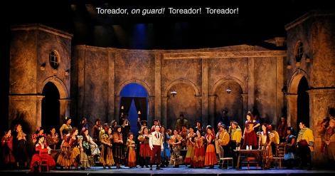 Supertitles over Bizet's Carmen