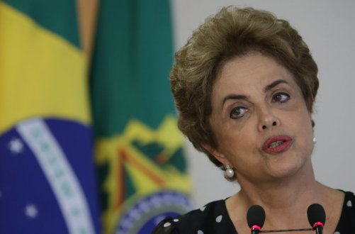 Brazil's ex-President Dilma Rousseff speaking in Brasilia