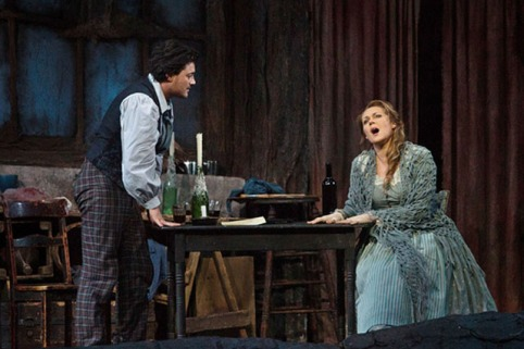 Vittorio Grigolo as Rodolfo with Kristine Opolais as Mimi in La Boheme (AP Photo/Metropolitan Opera, Marty Sohl)