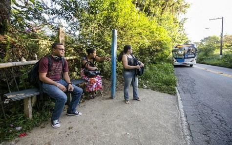 """Old-fashioned """"ponto de onibus"""") (""""bus stop"""") in Sao Paulo"""