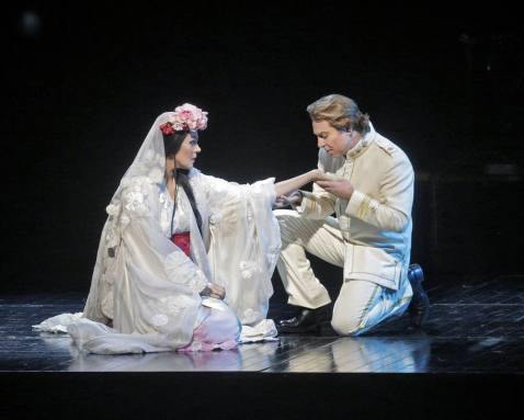 Cio-Cio-San (Opolais) & Pinkerton (Alagna), Act I of Madama Butterfly (Met Opera Photo)