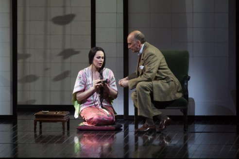 Cio-Cio-San (Opolais) speaking with Consul Sharlpess (Dwayne Croft) in Act II of Madama Butterfly