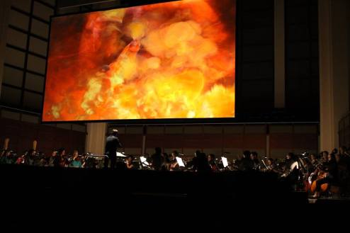 Maestro Timothy Myers, leading the NCO Orchestra in Das Rheingold (Photo: NCO at Meymandi Hall)